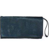 dries van noten green calf hair wristlet clutch bag green sz: m
