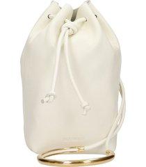 jil sander drawstring shoulder bag in beige leather