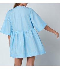 ganni women's crispy tafetta dress - airy blue - l/xl