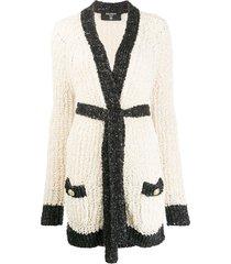 balmain sequin detail open knit cardi-coat - neutrals