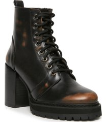 steve madden women's rivet lace-up lug sole booties
