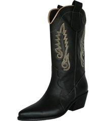 botas stivali husky cuero - folia negro / dorado