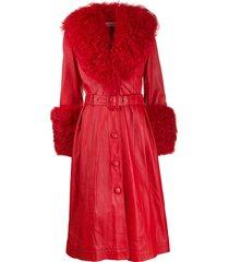saks potts belted a-line shearling coat - red