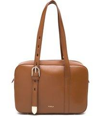 furla buckle-embellished tote - brown