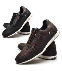 kit 02 pares de sapatênis sapato casual juilli 1100l marrom e preto