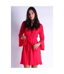 robe roupão hobby boyou amarrar pijama dormir lingerie 241 vermelho