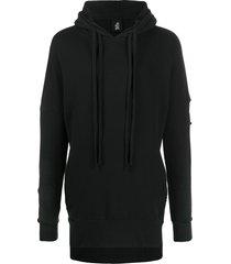 thom krom long length hoodie - black