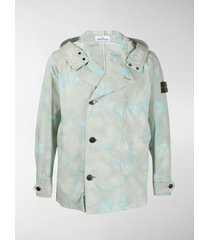stone island camouflage print hooded jacket