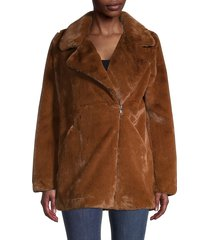 apparis women's rose faux fur zip-front coat - chocolate - size m