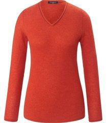 trui van 100% kasjmier met v-hals van fadenmeister berlin rood