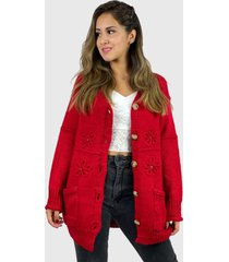 chaleco lana hippie chic rojo enigmática boutique