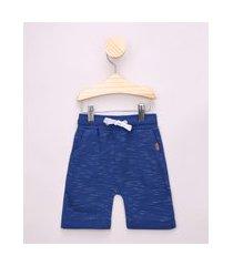 bermuda de moletom infantil básica com cordão e bolsos azul royal