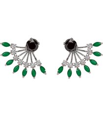 brinco ear jacket the ring boutique cristais verde esmeralda zp ródio ouro branco