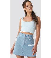 na-kd distressed denim skirt - blue