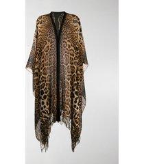 saint laurent fringed leopard-print poncho