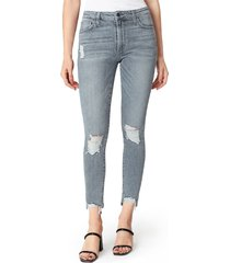 women's joe's the charlie ripped high waist ankle skinny jeans, size 30 - grey