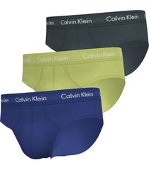 calvin klein slips cotton stretch 3-pack geel-grijs-paars