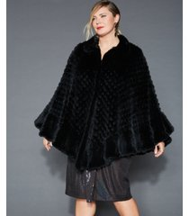 the fur vault plus size knitted rabbit fur poncho