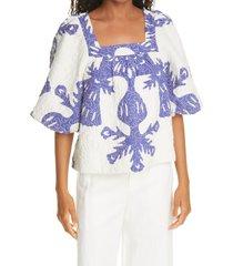 women's sea henrietta print puff sleeve top, size x-large - blue