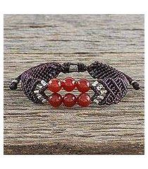 carnelian beaded pendant bracelet, 'smart scarlet' (thailand)