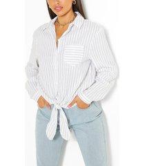 gestreepte katoenen blouse met ceintuur, wit