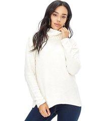sweater chenille cuello alto mujer ecru corona
