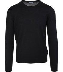 fedeli man round neck pullover in black cashmere and silk