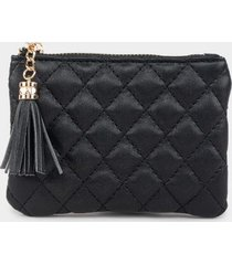 rosa quilted coin pouch - black