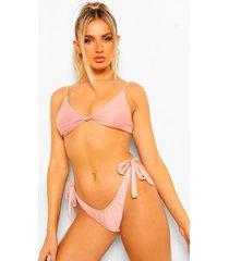 essentials geknoopte driehoek bikini top, poederroze