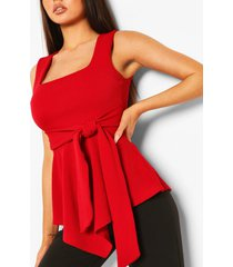 crepe square neck asymmetric belted top, red