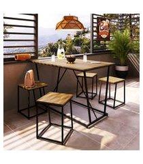 mesa de jantar + 4 banquetas industrial steel wood trevalla preto/amadeirado
