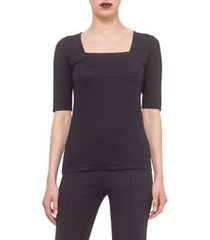 women's akris punto square neck jersey tee, size 12 - black