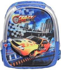 mochila ls infantil crazy car divisórias carros em alto relevo detalhes - unissex