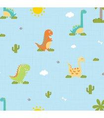papel de parede infantil quartinhos dinossauro baby 2,70x0,57m - azul - dafiti