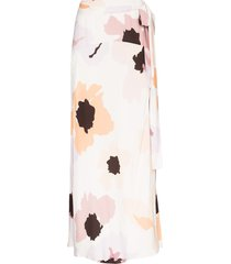 peony floral-print tie-front maxi skirt - white