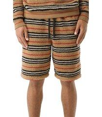 men's burberry howell stripe fleece shorts