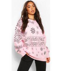 bandanna print extreme oversized sweatshirt, pink