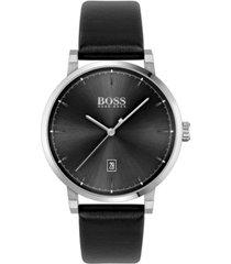 boss men's confidence black leather strap watch 42mm