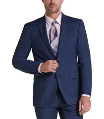 calvin klein blue tic slim fit men's suit - size: 36 regular