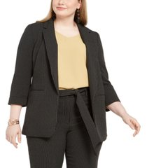 bar iii trendy plus size striped blazer, created for macy's
