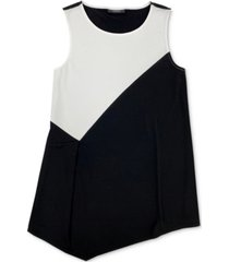 alfani colorblocked asymmetrical sleeveless top, created for macy's