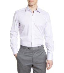 men's big & tall david donahue trim fit stripe dress shirt, size 18 - 34/35 - purple