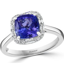 effy tanzanite (2-1/4 ct. t.w.) & diamond (1/4 ct. t.w.) halo ring in 14k white gold