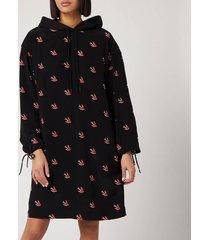 mcq alexander mcqueen women's umeko hoody dress - darkest black - s