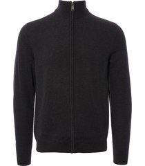 fred perry authentic merino wool zip-through cardigan - black marl k4517-112