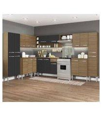 cozinha completa de canto reto madesa emillybigcom armário e balcão 21 portas 1 gaveta rustic/preto rustic/preto