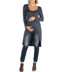 24seven comfort apparel long sleeve high low rounded hemline maternity tunic top
