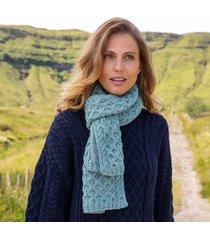aqua cozy aran scarf