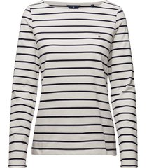 breton stripe boatneck jumper t-shirts & tops long-sleeved wit gant