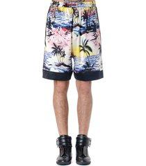 laneus hawaii print multicolor silk shorts